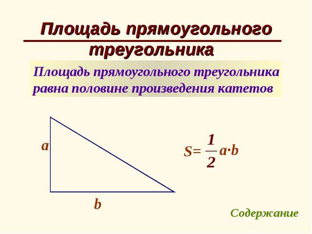 Площадь прямоугольного треугольника Площадь прямоугольного треугольника равна...