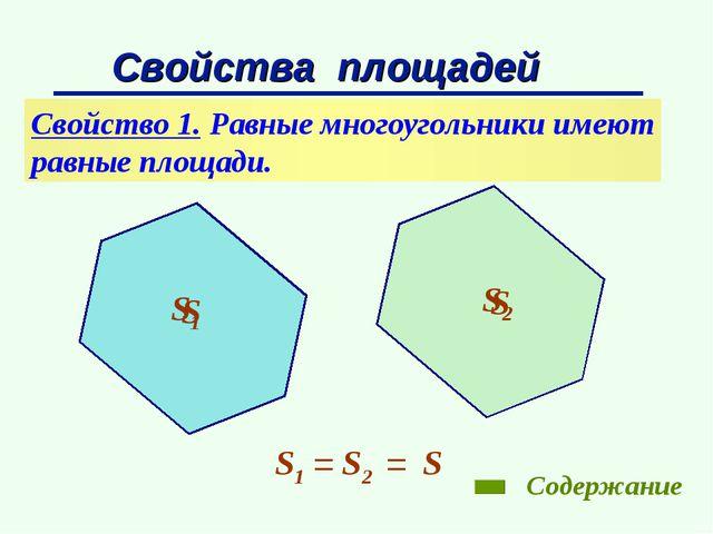 Свойства площадей Свойство 1. Равные многоугольники имеют равные площади. S1...