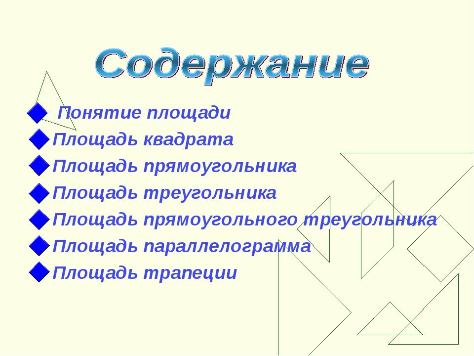 Понятие площади Площадь квадрата Площадь прямоугольника Площадь треугольника...