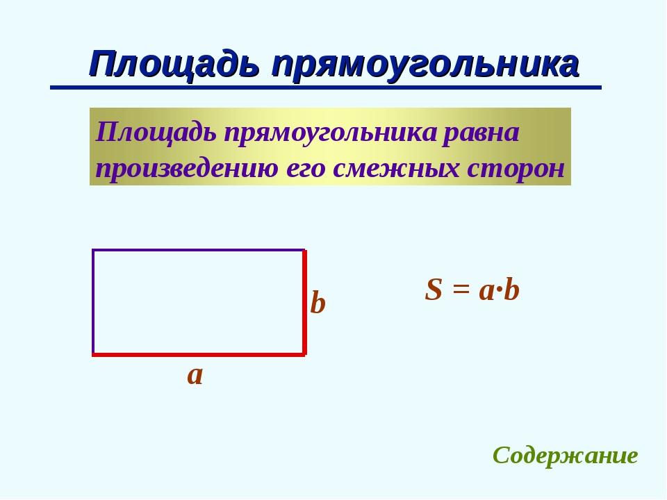 Площадь прямоугольника b a S = a∙b Содержание