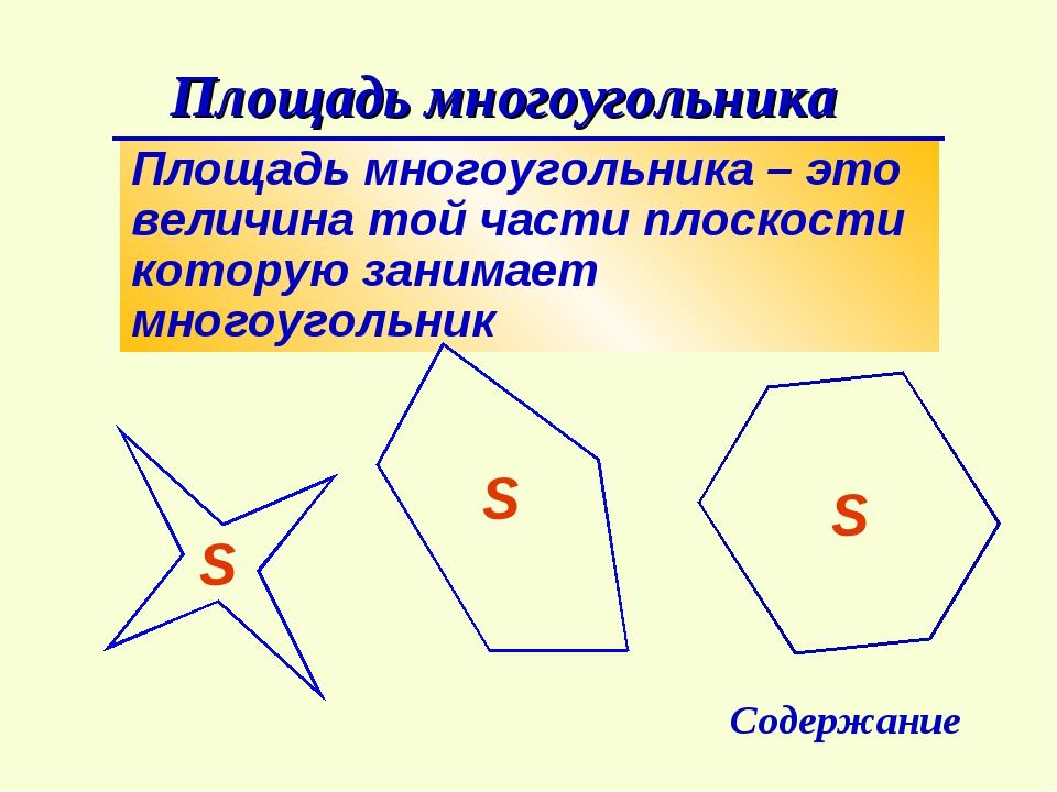 Площадь многоугольника – это величина той части плоскости которую занимает мн...