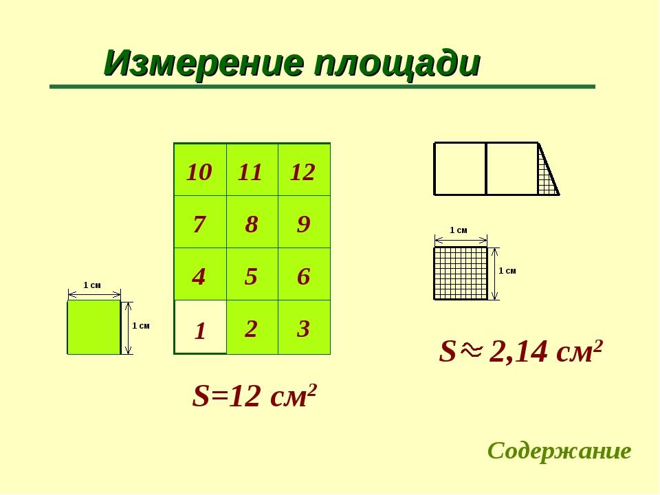Измерение площади 1 S=12 cм2 Содержание