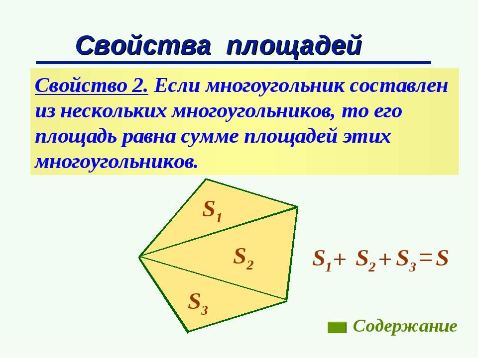 Свойства площадей Свойство 2. Если многоугольник составлен из нескольких мног...