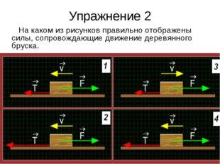 Упражнение 2 На каком из рисунков правильно отображены силы, сопровождающие д