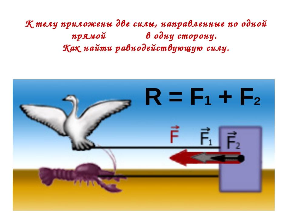 К телу приложены две силы, направленные по одной прямой в одну сторону. Как н...