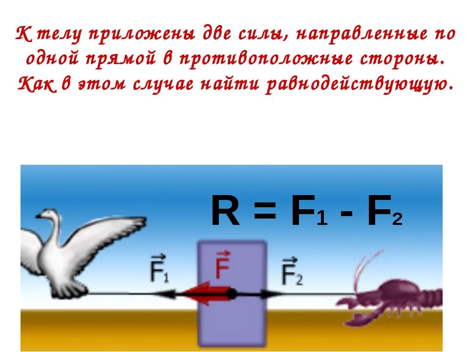К телу приложены две силы, направленные по одной прямой в противоположные сто...
