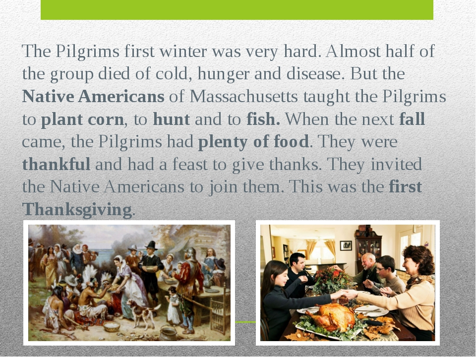 The Pilgrims first winter was very hard. Almost half of the group died of col...