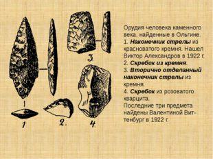 Орудия человека каменного века, найденные в Ольгине. 1. Наконечник стрелы из