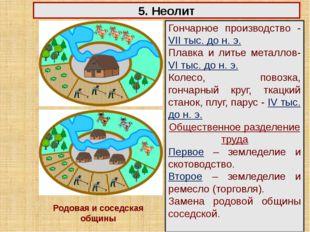 5. Неолит Гончарное производство - VII тыс. до н. э. Плавка и литье металлов-