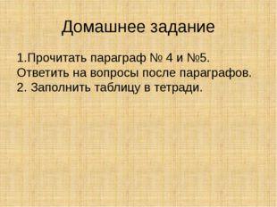 Домашнее задание 1.Прочитать параграф № 4 и №5. Ответить на вопросы после пар