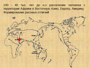 100 - 40 тыс. лет до н.э расселение человека с территории Африки в Восточную