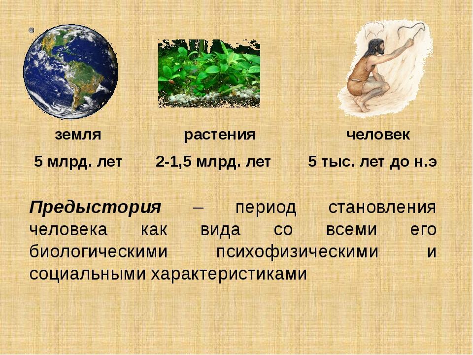 земля 5 млрд. лет растения 2-1,5 млрд. лет человек 5 тыс. лет до н.э Предысто...