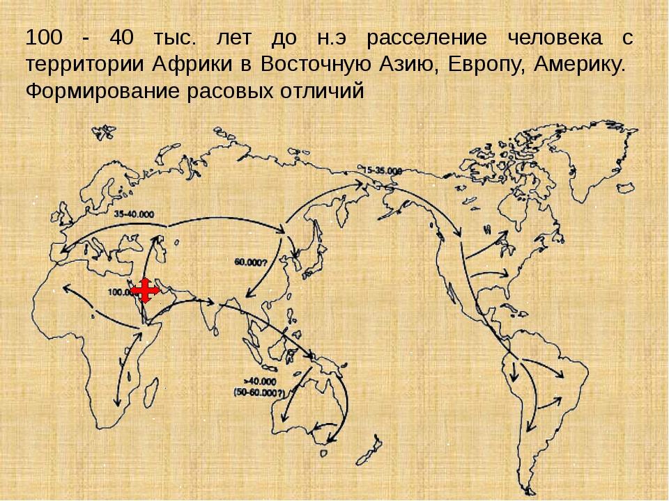 100 - 40 тыс. лет до н.э расселение человека с территории Африки в Восточную...
