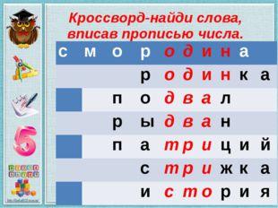 Кроссворд-найди слова, вписав прописью числа. с м о р о д и н а     р о д
