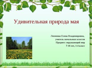 Удивительная природа мая Левченко Елена Владимировна, учитель начальных класс