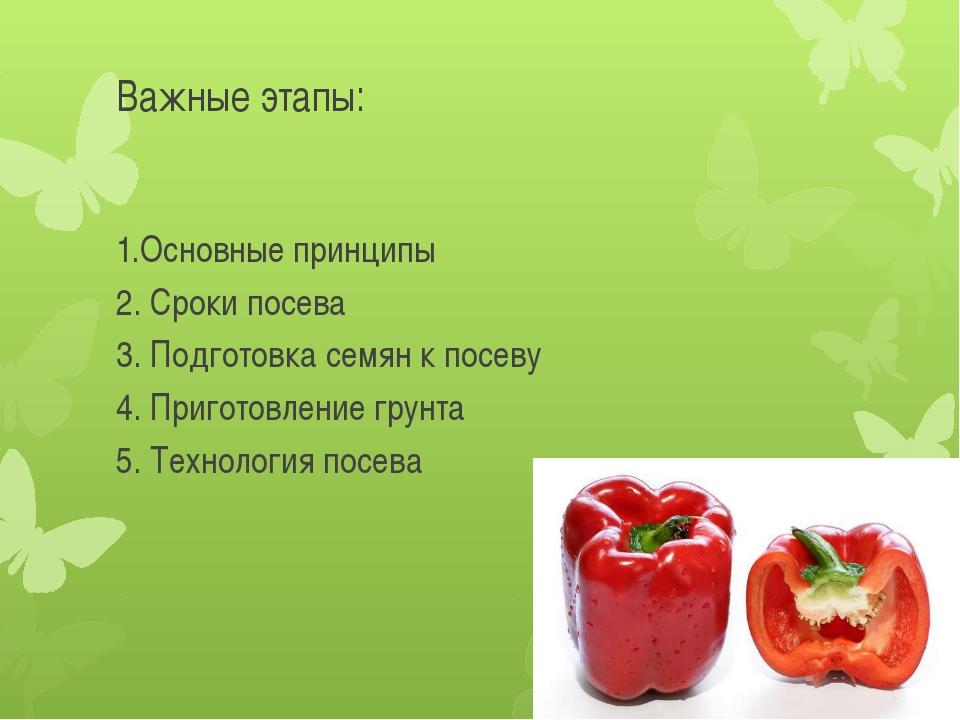 Важные этапы: 1.Основные принципы 2. Сроки посева 3. Подготовка семян к посев...