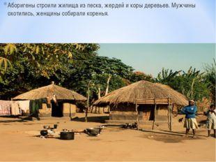 Аборигены строили жилища из песка, жердей и коры деревьев. Мужчины охотились,