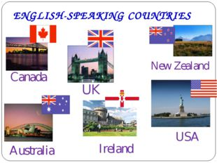 ENGLISH-SPEAKING COUNTRIES Canada UK Australia USA New Zealand Ireland