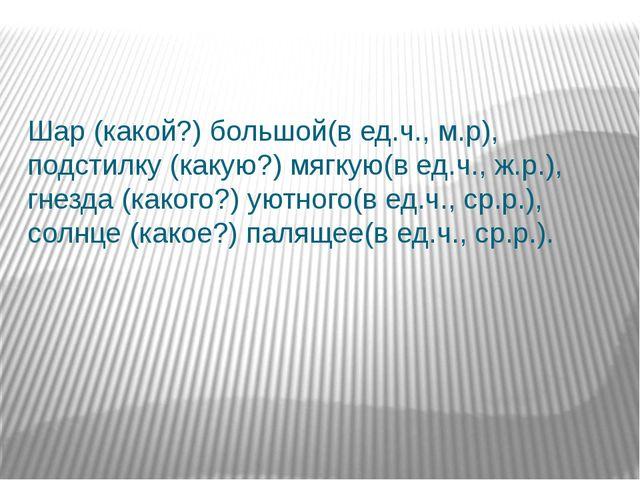 Шар (какой?) большой(в ед.ч., м.р), подстилку (какую?) мягкую(в ед.ч., ж.р.)...