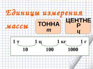 Единицы измерения массы ТОННА т ЦЕНТНЕР ц 1 т 1 ц 1 кг 1 г 10 100 1000