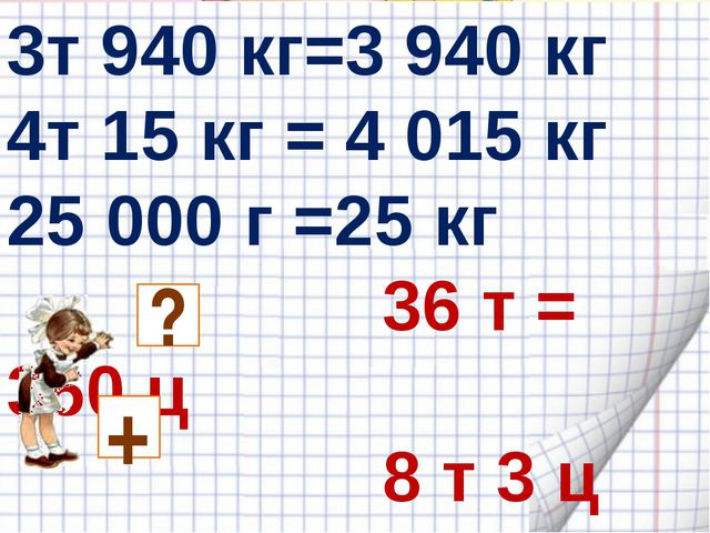 3т 940 кг=3 940 кг 4т 15 кг = 4 015 кг 25 000 г =25 кг 36 т = 360 ц 8 т 3 ц =...