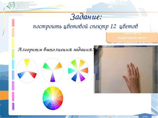 Задание: построить цветовой спектр 12 цветов Алгоритм выполнения задания: план