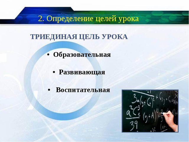 2. Определение целей урока ТРИЕДИНАЯ ЦЕЛЬ УРОКА • Образовательная • Развиваю...