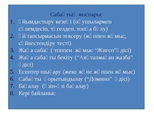 Сабақтың жоспары: Ұйымдастыру кезеңі (оқушылармен сәлемдесіп, түгелдеп, топқа