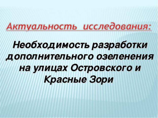 Необходимость разработки дополнительного озеленения на улицах Островского и...