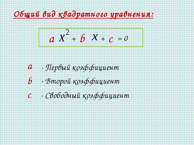 Общий вид квадратного уравнения: а - Первый коэффициент b - Второй коэффициен...
