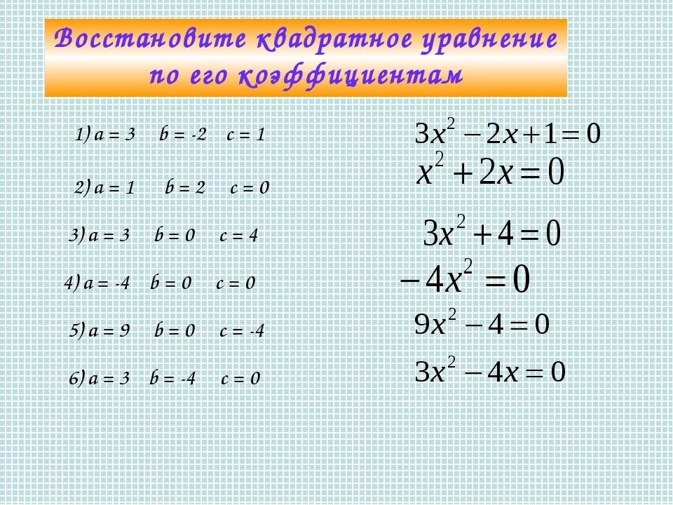 Восстановите квадратное уравнение по его коэффициентам 1) а = 3 b = -2 с = 1...