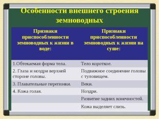 Особенности внешнего строения земноводных Признаки приспособленности земновод