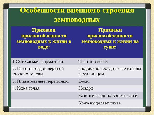 Особенности внешнего строения земноводных Признаки приспособленности земновод...