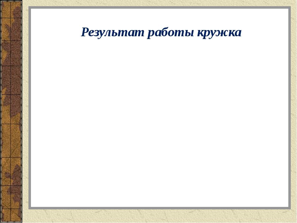 Результат работы кружка Программа предусматривает достижение результатов: пре...