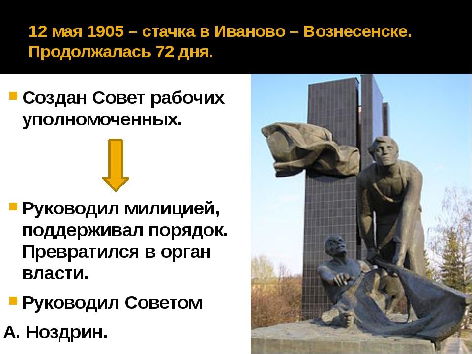 12 мая 1905 – стачка в Иваново – Вознесенске. Продолжалась 72 дня. Создан Сов...
