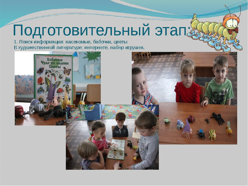 Подготовительный этап: 1. Поиск информации: насекомые, бабочки, цветы В худож...