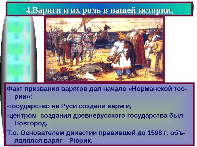 4.Варяги и их роль в нашей истории. Факт призвания варягов дал начало «Норман...