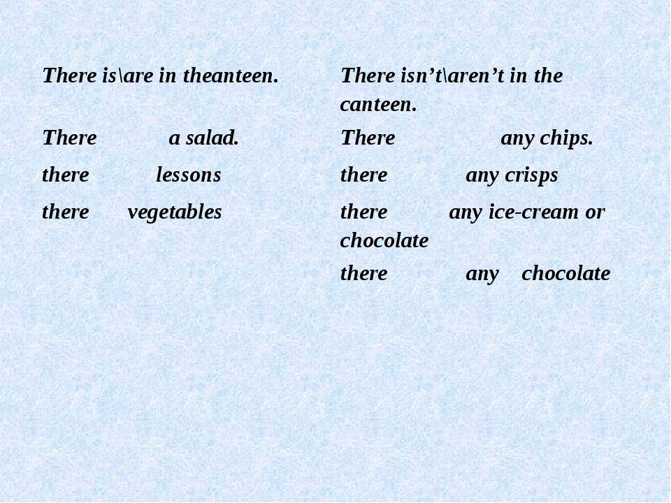 There is\are in theanteen.There isn't\aren't in the canteen. There a salad....
