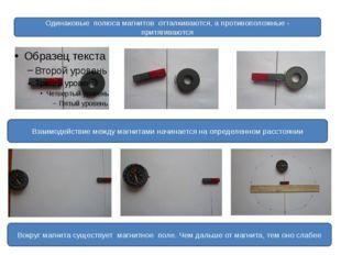 Одинаковые полюса магнитов отталкиваются, а противоположные - притягиваются