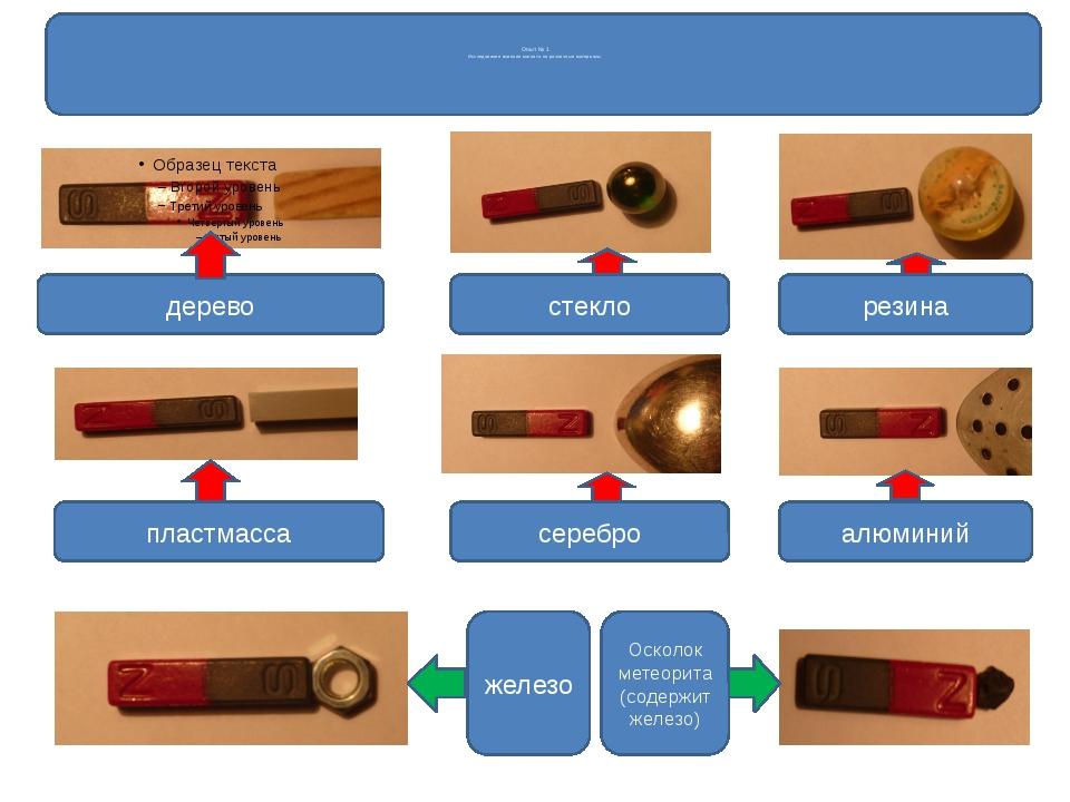 Опыт № 1 Исследование влияния магнита на различные материалы дерево стекло р...