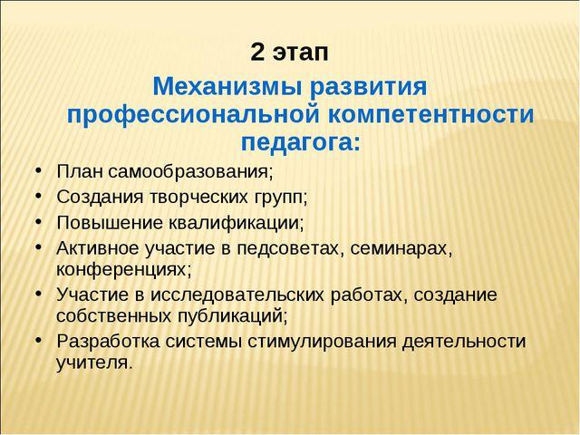2 этап Механизмы развития профессиональной компетентности педагога: План сам...
