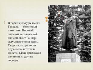 В парке культуры имени Гайдара — бронзовый памятник. Высокий, сильный, в сол