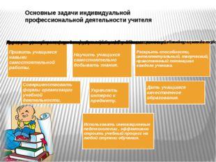 Основные задачи индивидуальной профессиональной деятельности учителя
