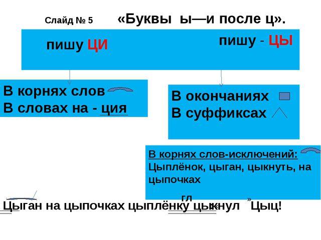 Слайд № 5 «Буквы ы—и после ц». пишу - ЦЫ пишу ЦИ В корнях слов В словах на -...