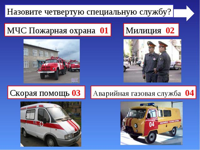 Назовите четвертую специальную службу? МЧС Пожарная охрана 01 Милиция 02 Скор...