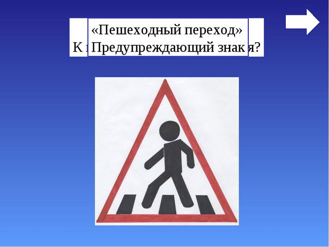 Назовите знак. К какой группе он относится? «Пешеходный переход» Предупреждаю...