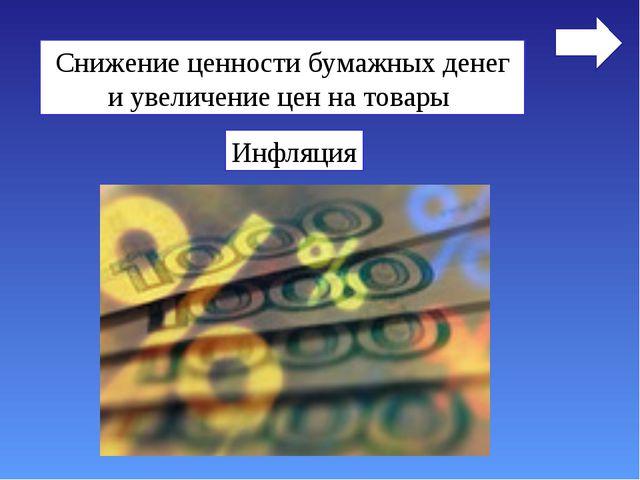 Снижение ценности бумажных денег и увеличение цен на товары Инфляция