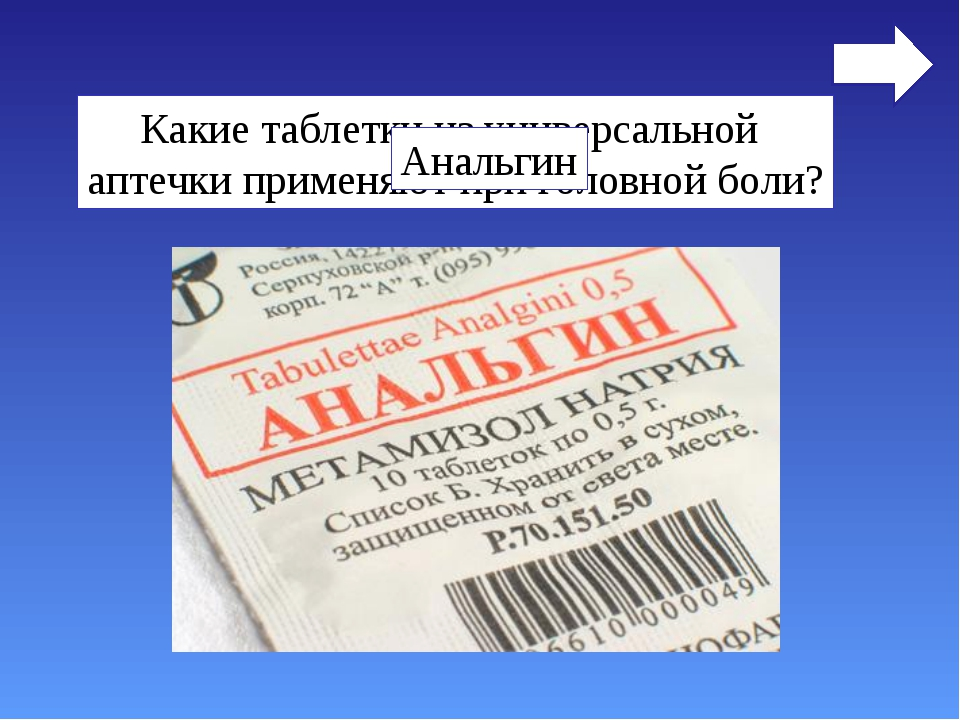 Какие таблетки из универсальной аптечки применяют при головной боли? Анальгин