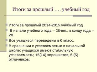 Итоги за прошлый …. учебный год Итоги за прошлый 2014-2015 учебный год В нача