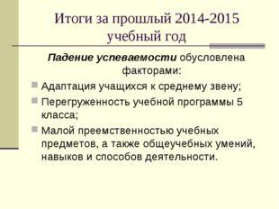 Итоги за прошлый 2014-2015 учебный год Падение успеваемости обусловлена факто